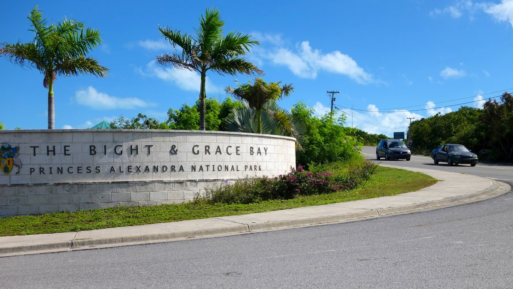 Turks and Caicos which includes a garden and signage
