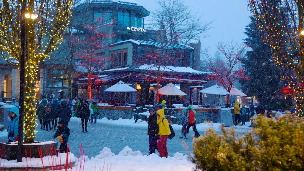 Whistler showing snow as well as a small group of people