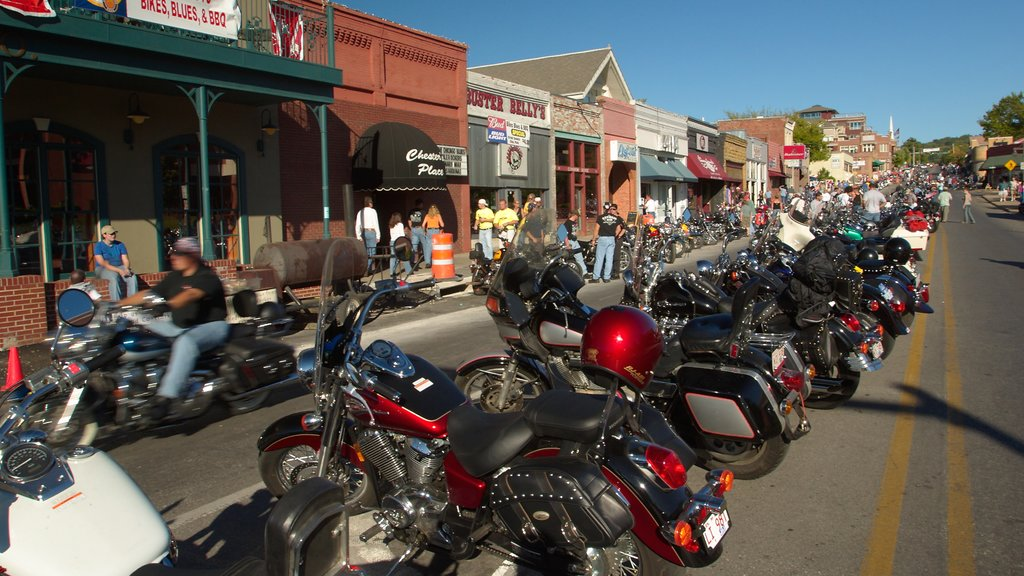 Bentonville - Fayetteville featuring motorcycle riding, street scenes and heritage elements