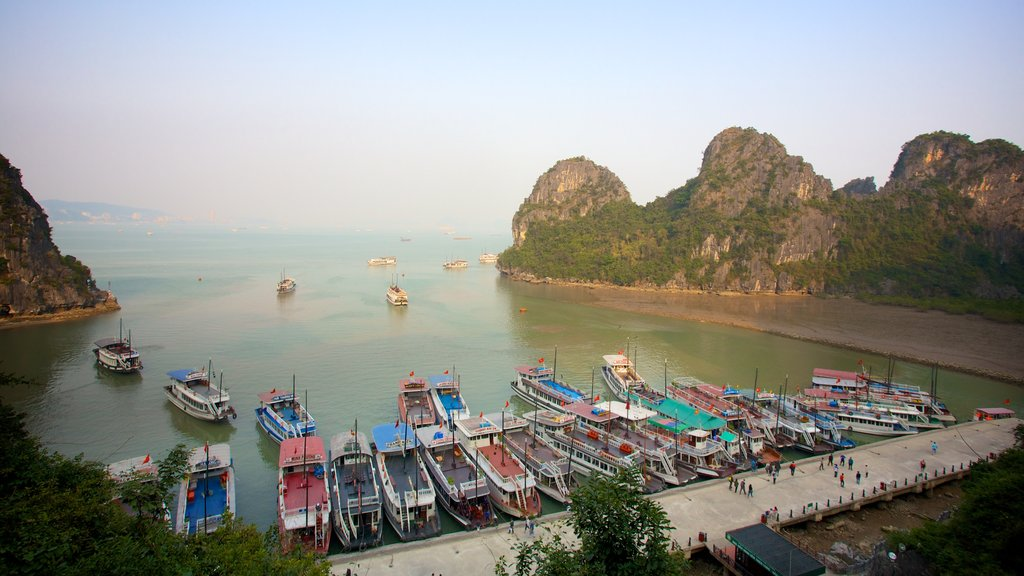 Halong Bay showing a ferry, landscape views and a bay or harbor