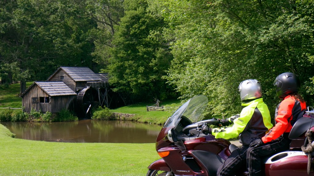 Roanoke featuring motorcycle riding, tranquil scenes and a lake or waterhole