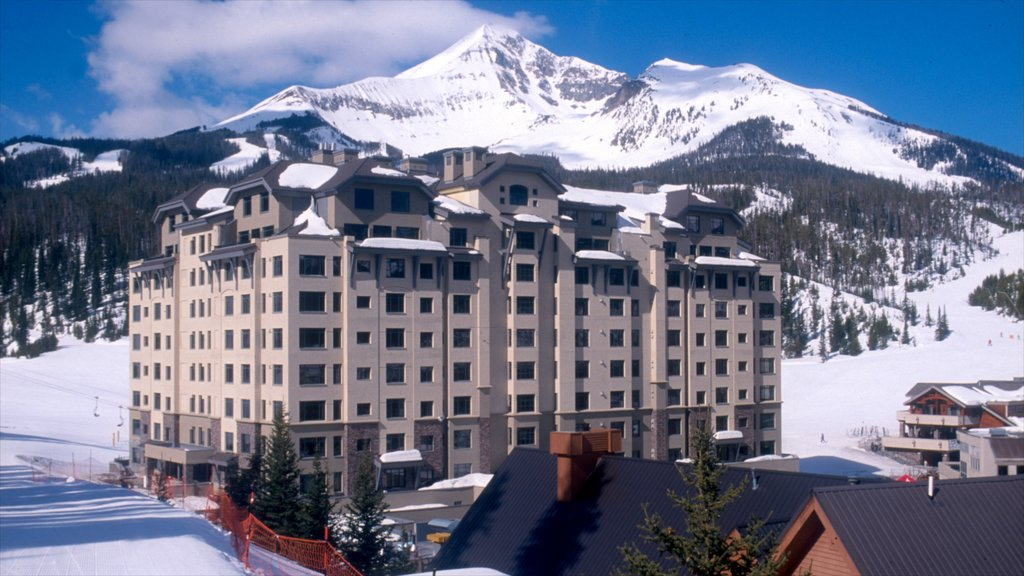 Big Sky which includes a luxury hotel or resort, mountains and snow