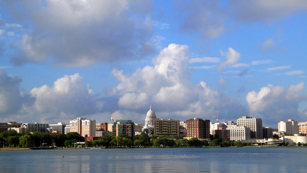 Madison featuring skyline, a lake or waterhole and a city
