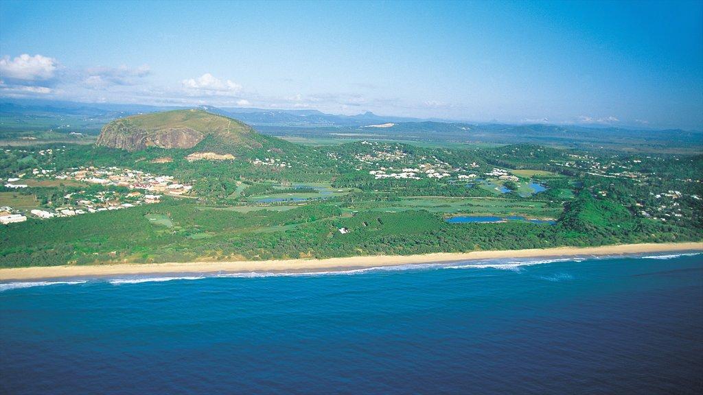 Coolum Beach featuring landscape views, a beach and mountains