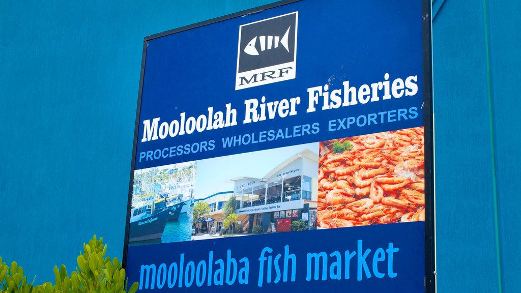 Mooloolaba featuring signage and markets