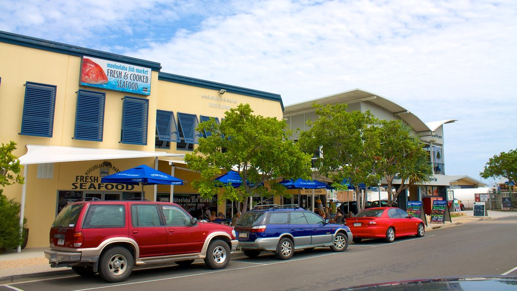 Mooloolaba which includes a coastal town and street scenes