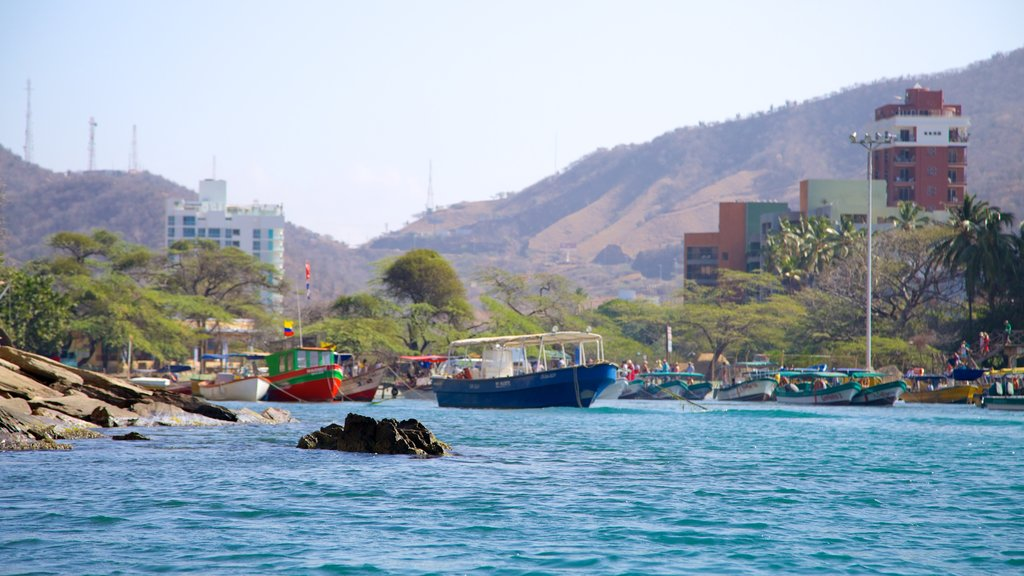 Blanca Beach featuring boating, a bay or harbor and a coastal town