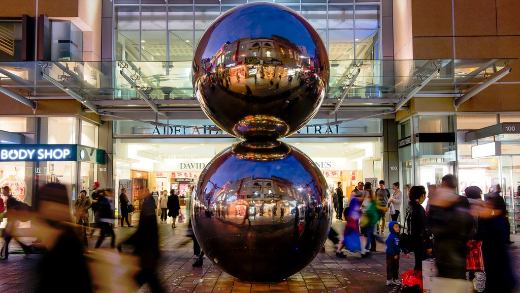 Rundle Mall featuring shopping, outdoor art and signage