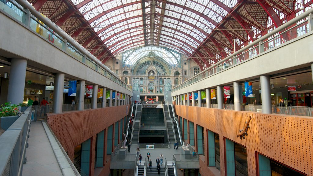 Antwerp Central Station showing interior views, railway items and heritage architecture