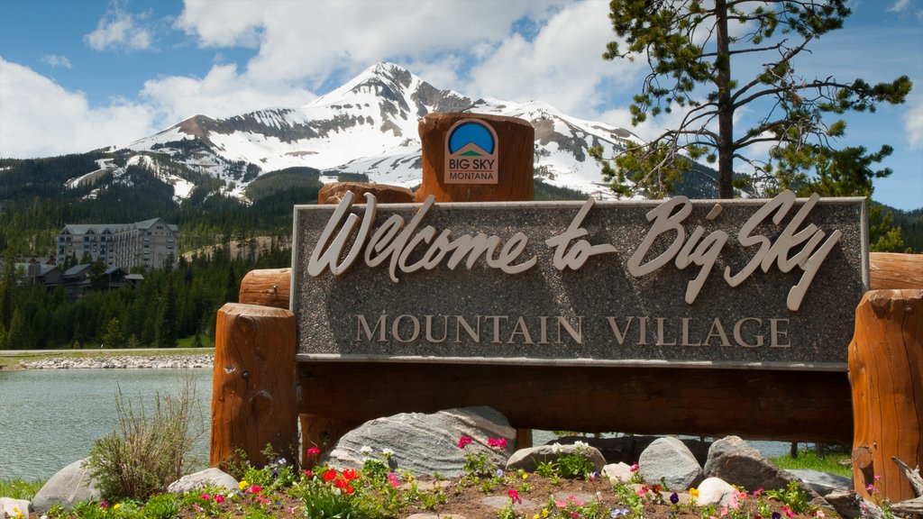 Big Sky Resort showing signage and mountains