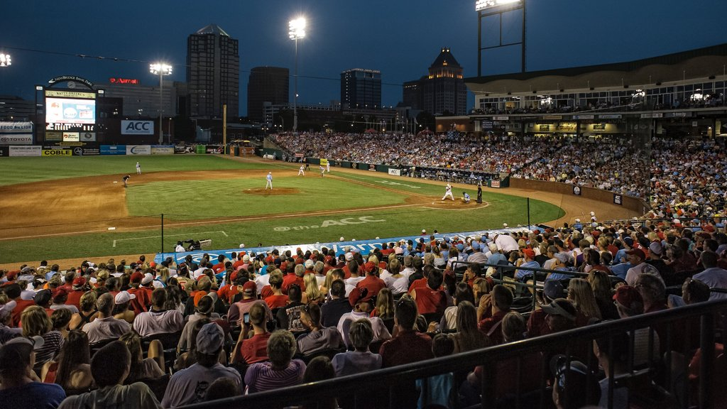 Greensboro featuring a sporting event and night scenes as well as a large group of people