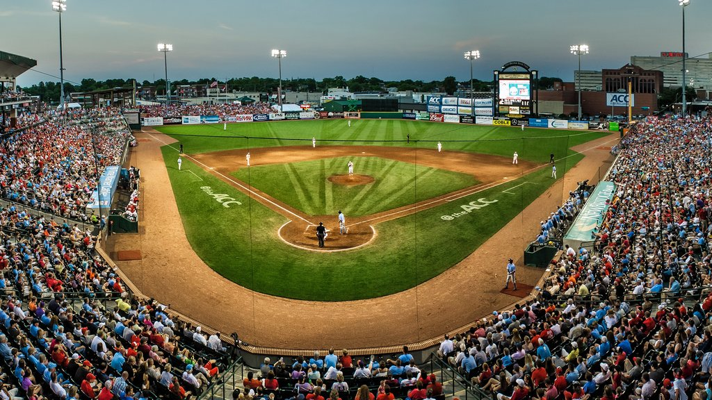 Greensboro which includes a sporting event as well as a large group of people