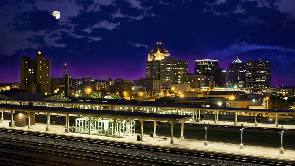 Greensboro featuring a city, night scenes and skyline