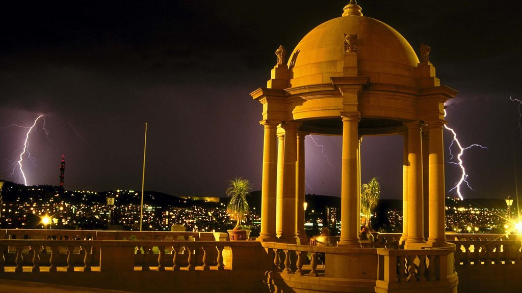Pretoria which includes a city, night scenes and heritage architecture