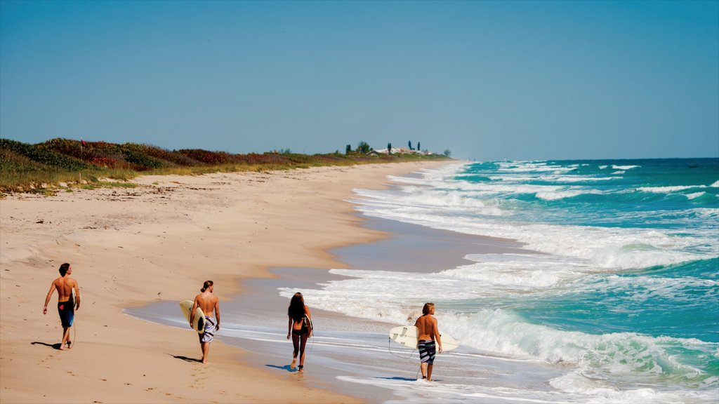 Space Coast featuring a sandy beach, landscape views and surfing