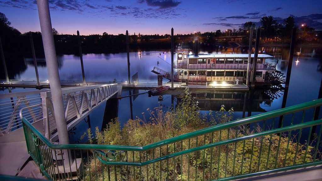 Salem which includes a marina, night scenes and a ferry