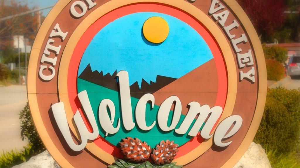 Bay Area ofreciendo señalización y una pequeña ciudad o pueblo