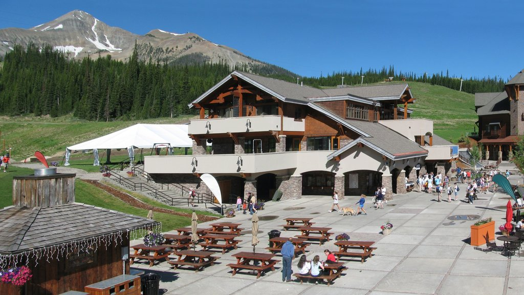 Big Sky Resort showing forest scenes and a luxury hotel or resort