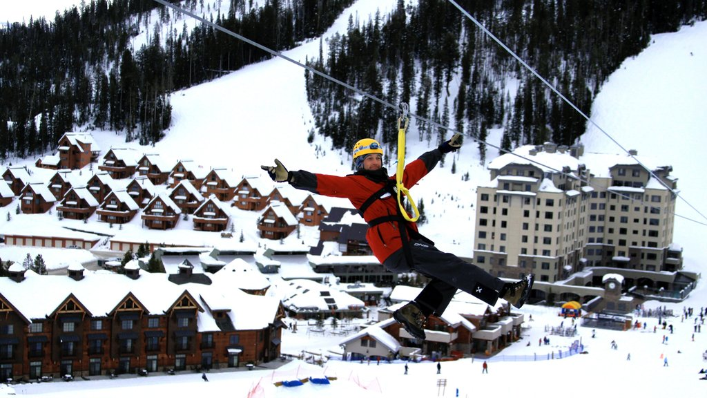 Big Sky Resort featuring snow, a small town or village and zip lining