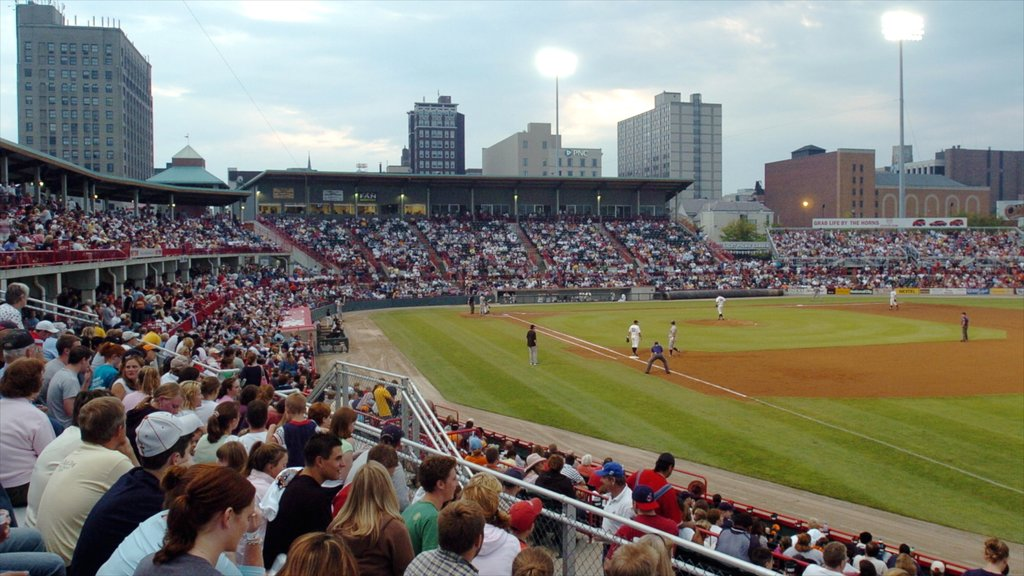 Erie which includes a sporting event as well as a large group of people