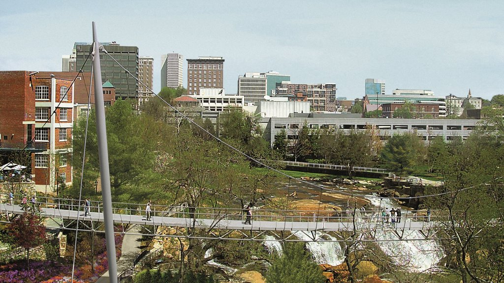 Greenville - Spartanburg showing skyline, a city and a suspension bridge or treetop walkway