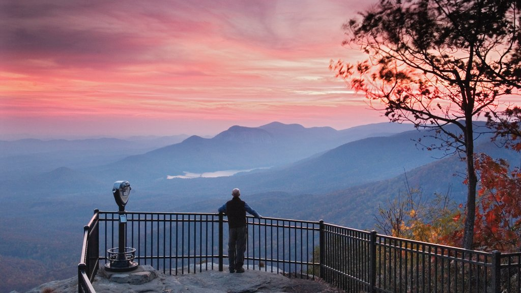 Greenville - Spartanburg showing a sunset, tranquil scenes and mountains