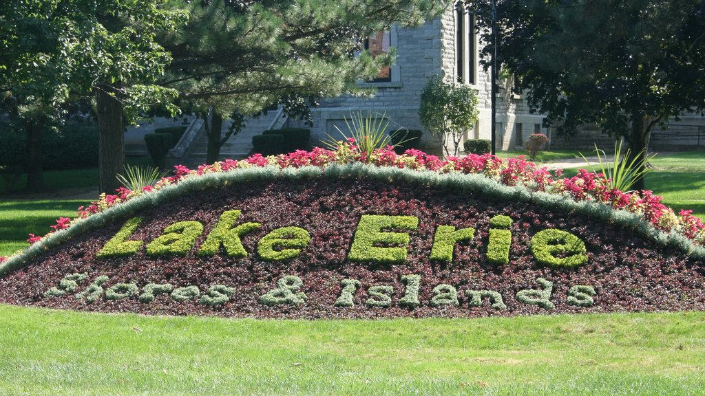 Sandusky showing a garden, signage and flowers