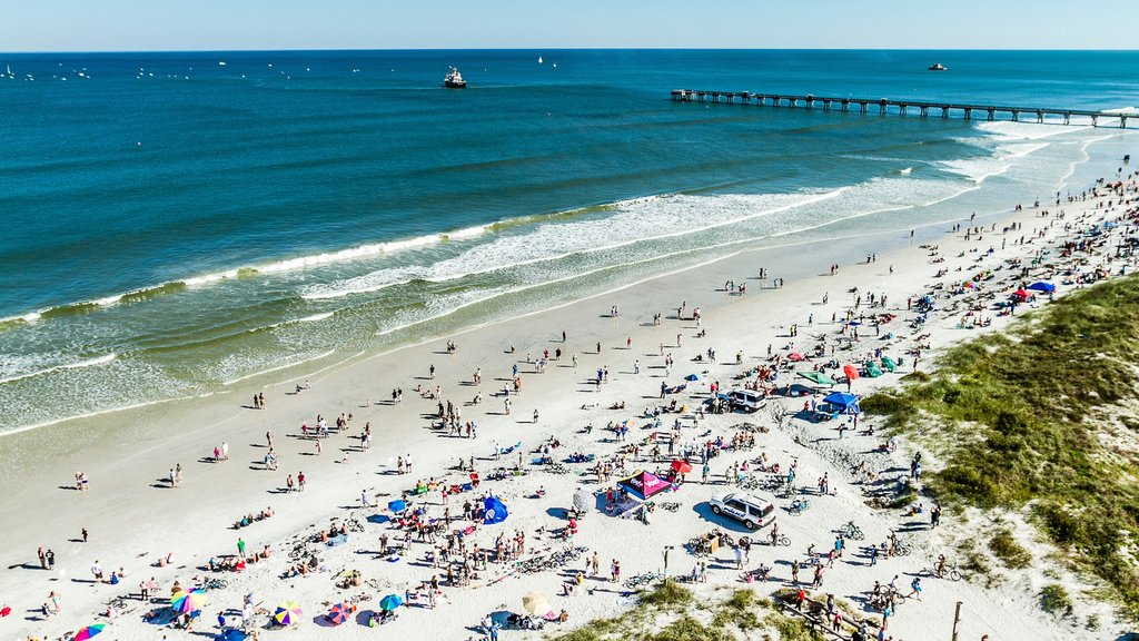 Jacksonville Beach which includes a sandy beach as well as a large group of people