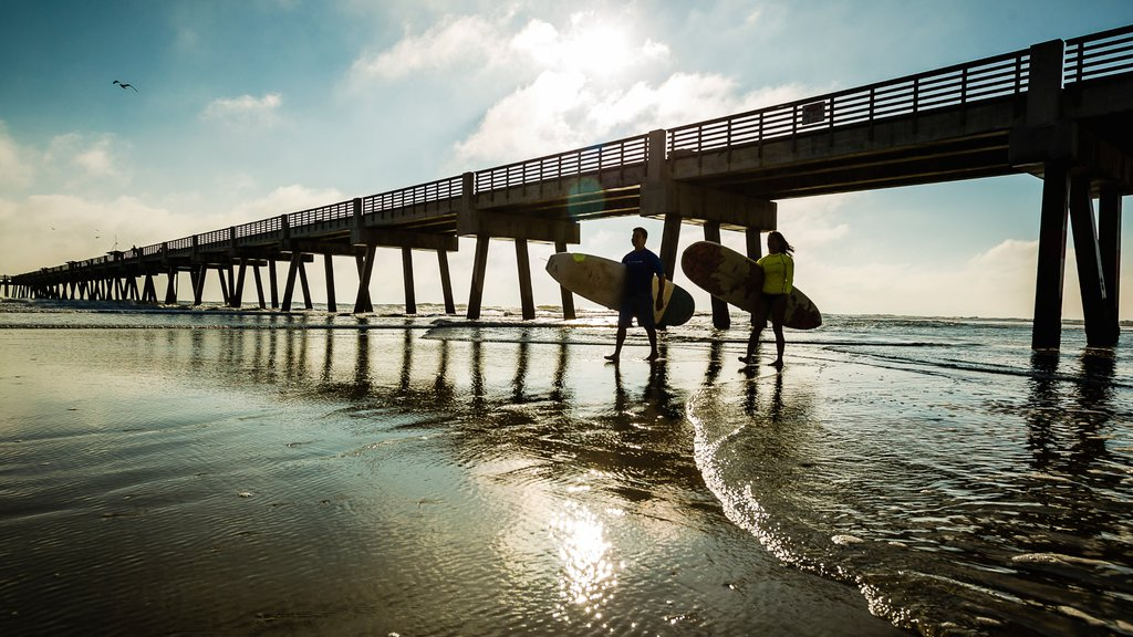 Jacksonville Beach which includes views, a beach and surfing