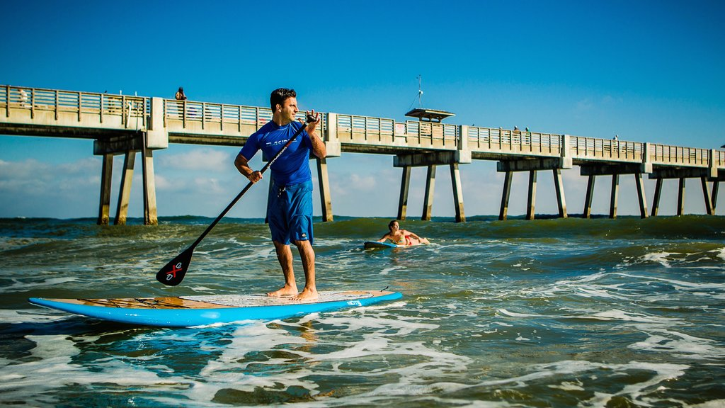 Jacksonville Beach which includes surf, surfing and views