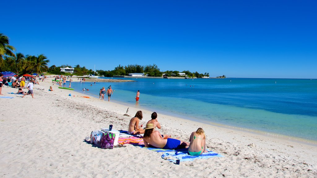 Sombrero Beach featuring a sandy beach as well as a small group of people