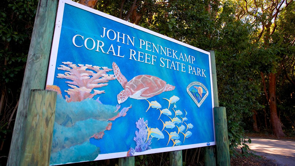 John Pennekamp Coral Reef State Park which includes signage