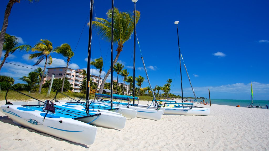 Smathers Beach showing tropical scenes, boating and a sandy beach