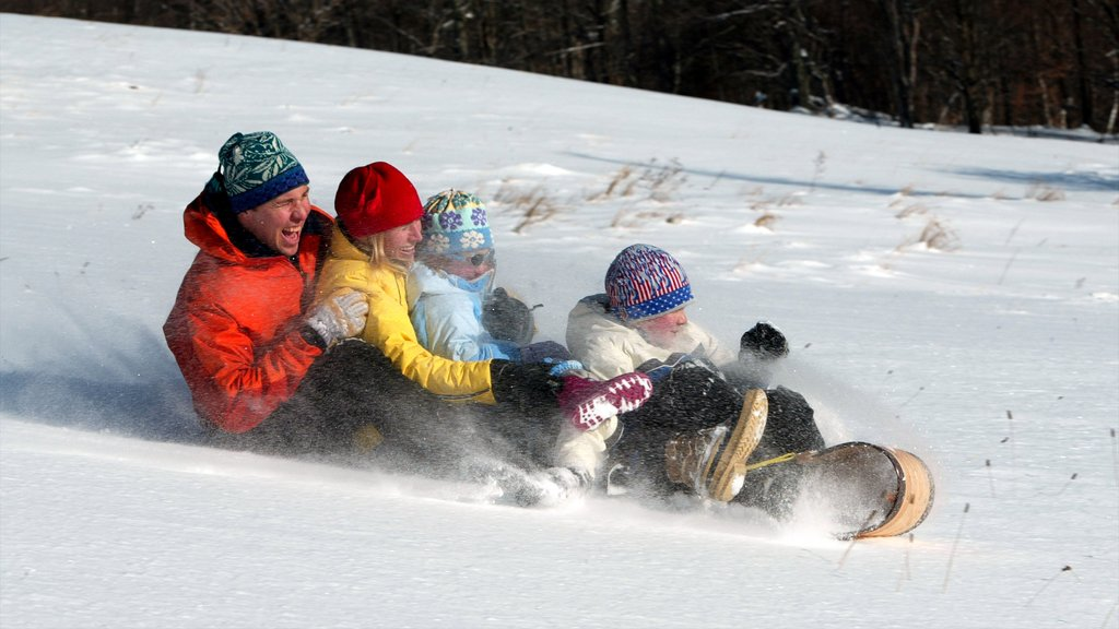 Vermont showing snow and snow tubing as well as a family