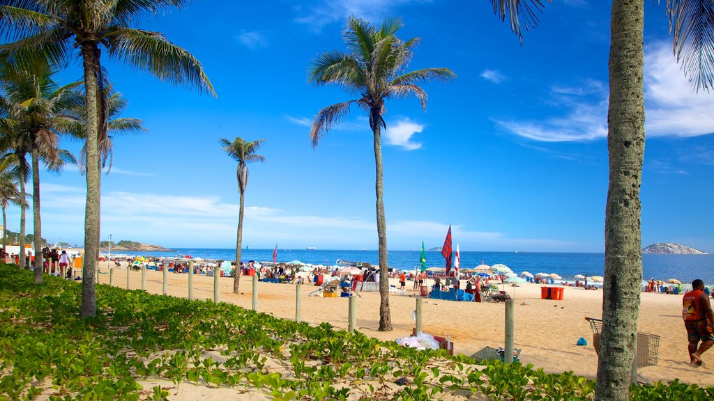 Ipanema Beach which includes a sandy beach and tropical scenes