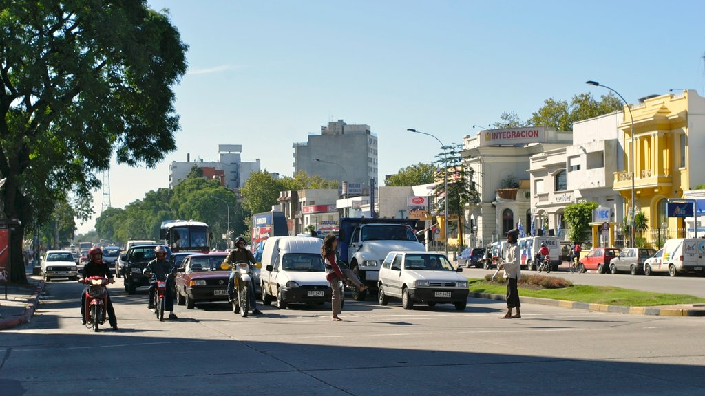 Montevideo showing motorbike riding and street scenes