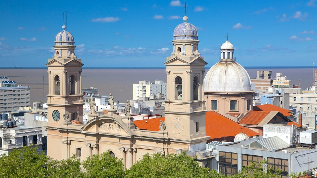 Montevideo Cathedral which includes a church or cathedral, a city and religious aspects