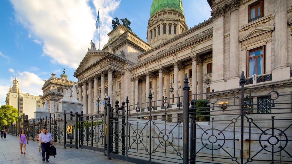 Congreso Nacional Argentino mostrando patrimonio de arquitectura y un edificio administrativo