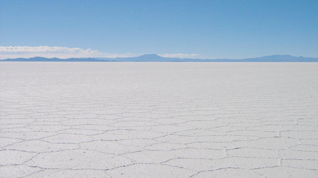 Salar de Uyuni que incluye un lago o abrevadero y vistas de paisajes