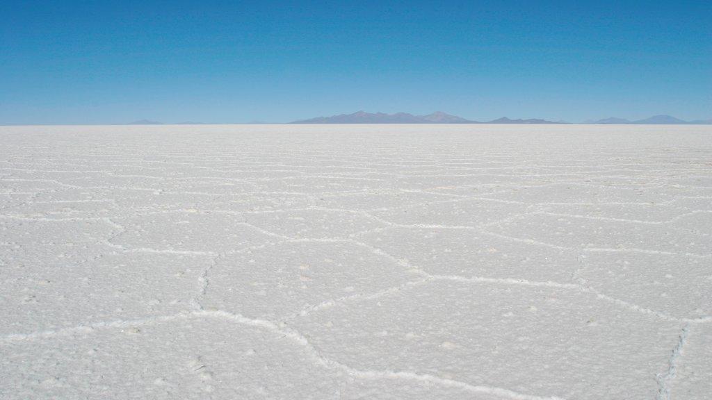 Salar de Uyuni ofreciendo vistas de paisajes y un lago o abrevadero