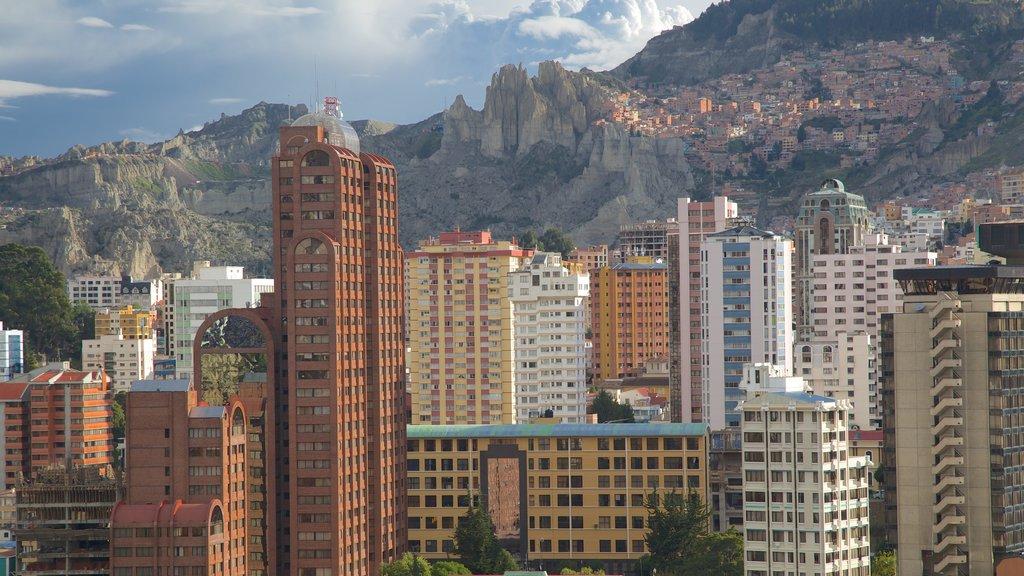 La Paz showing skyline, a skyscraper and a city