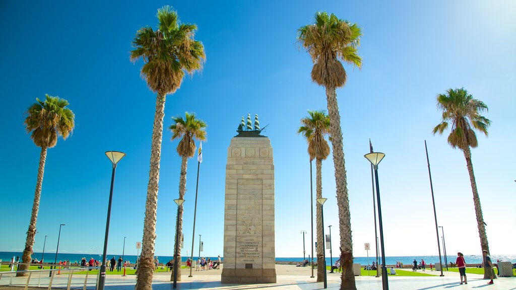 Glenelg Beach showing a monument and a park
