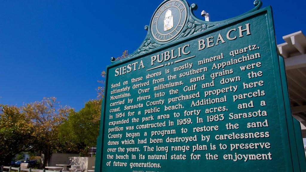 Siesta Key Public Beach featuring signage
