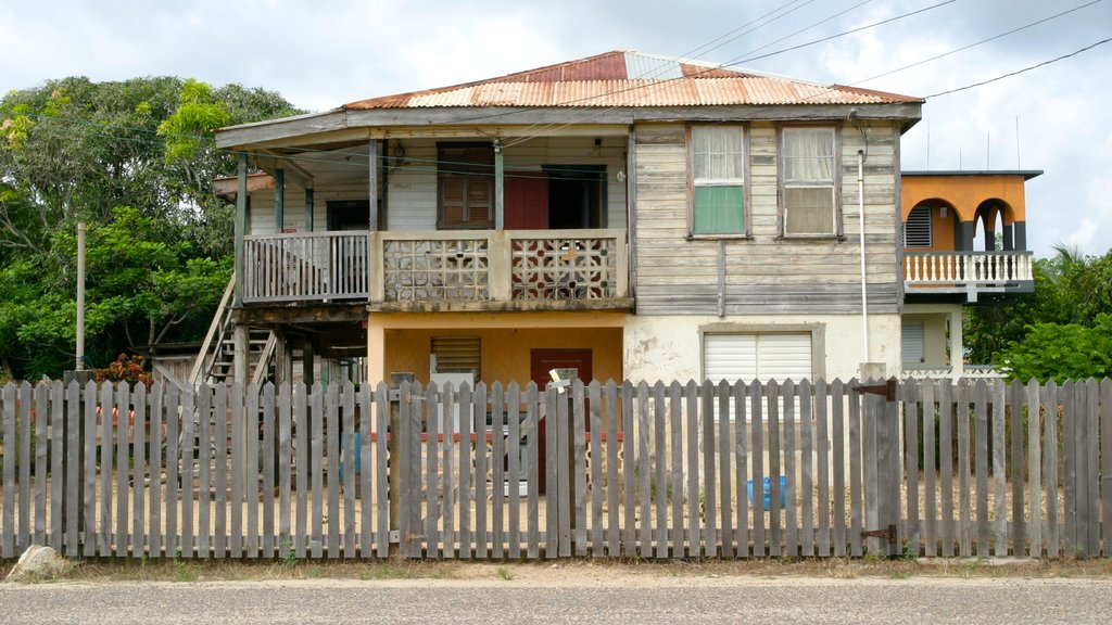 Dangriga which includes a house and street scenes