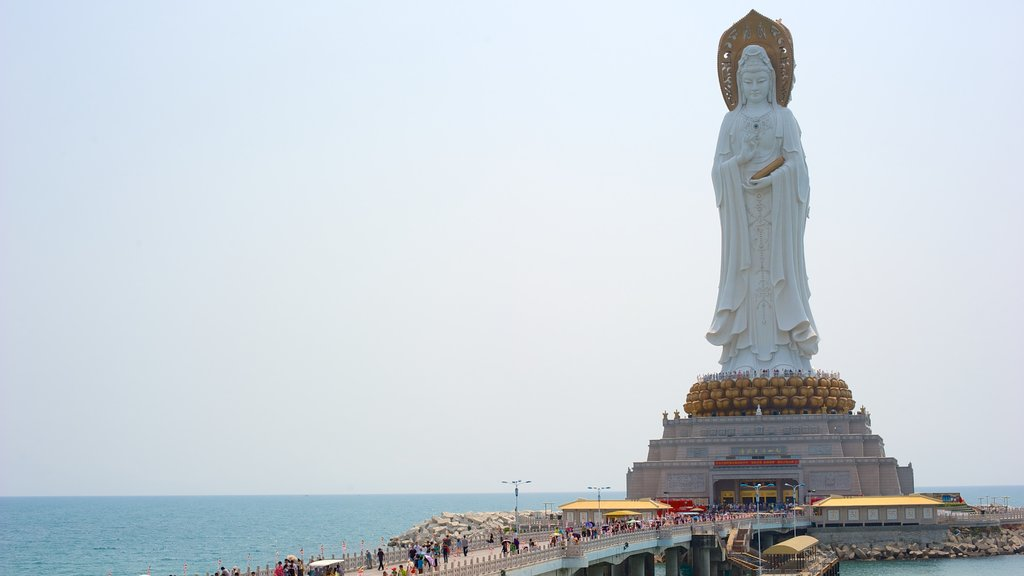 Guanyin Statue of Hainan featuring a statue or sculpture, a monument and a bridge
