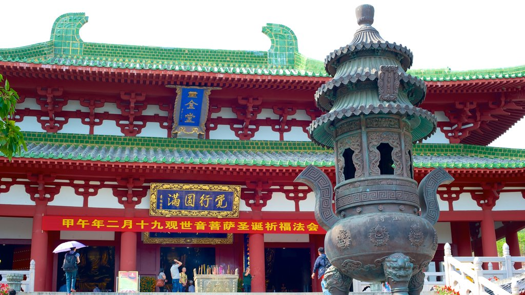 Nanshan Temple which includes religious elements and a temple or place of worship