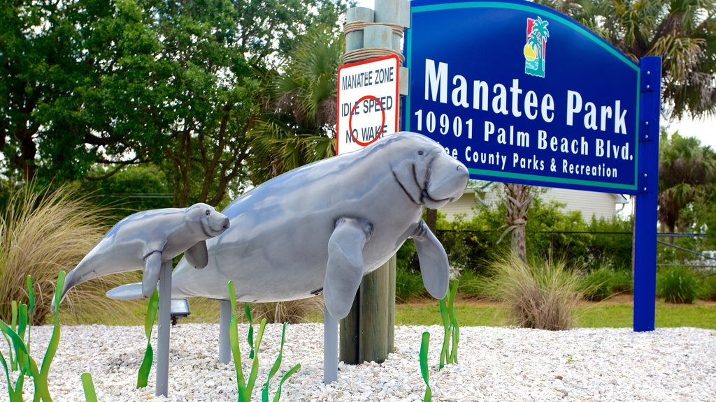 Manatee Park showing a garden and outdoor art
