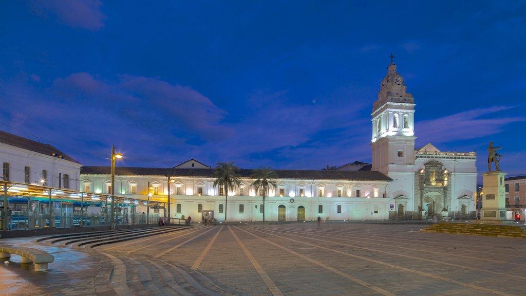 Santo Domingo Church showing night scenes and a square or plaza