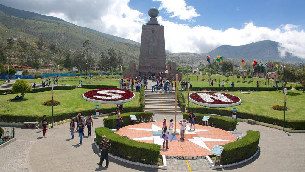 Mitad del Mundo Monument which includes a monument, a square or plaza and a garden
