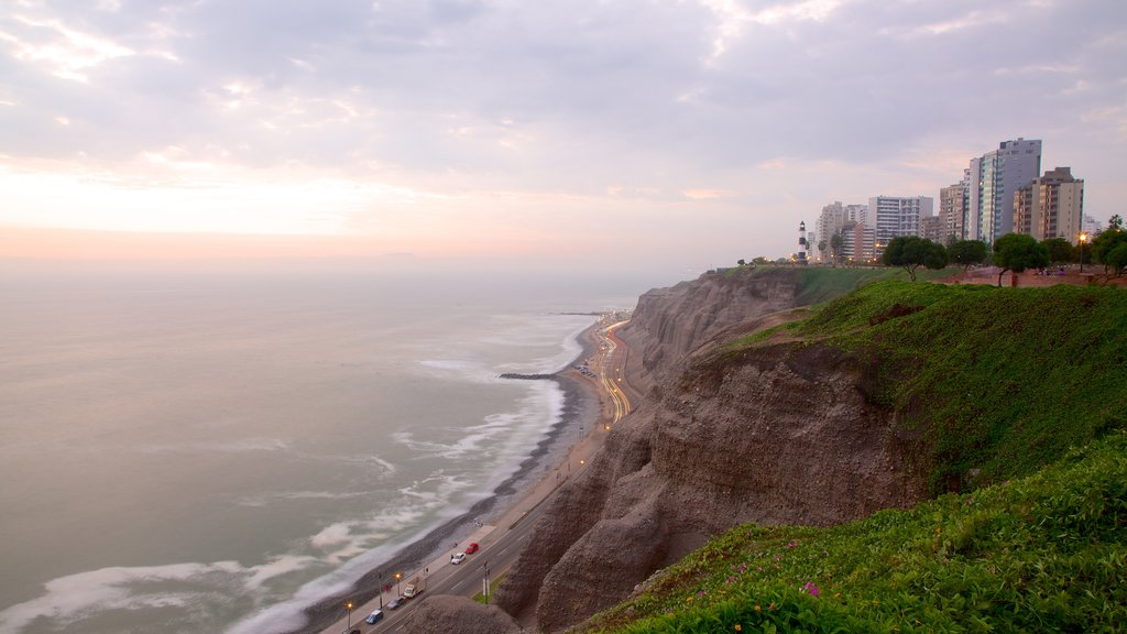 Miraflores featuring a sunset, general coastal views and landscape views